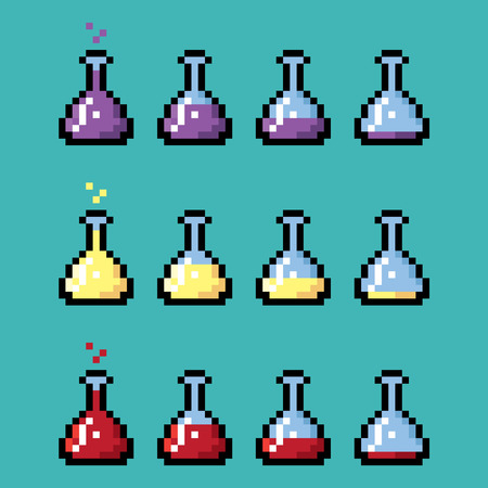 elixir: Medical chemical bottles with elixir in pixel style. Different stages from full to empty. Vectores