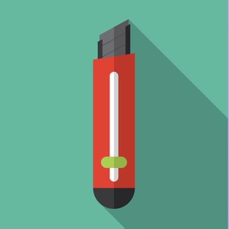 cutter: Cutter knife flat icon design Illustration