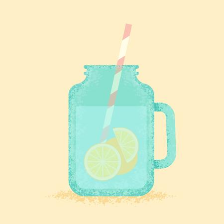 delight: Summer delight. Fresh lemonade in a jar. Illustration
