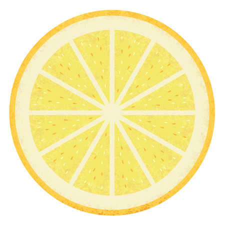 lemon slice: Fresh lemon slice with seeds Illustration