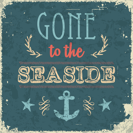 gone: Gone to the seaside. Vintage styled summer and holiday poster. Illustration