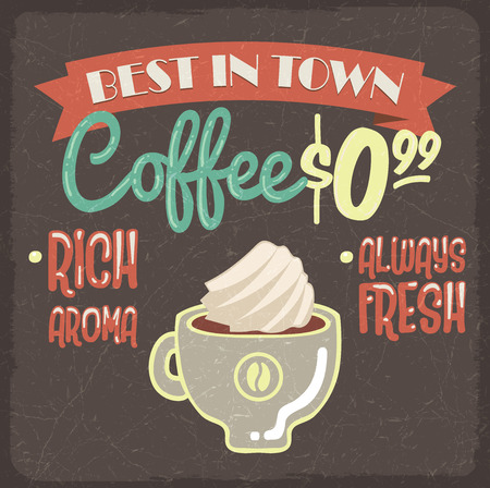 creme: Retro styled grunge poster with fresh coffee and creme