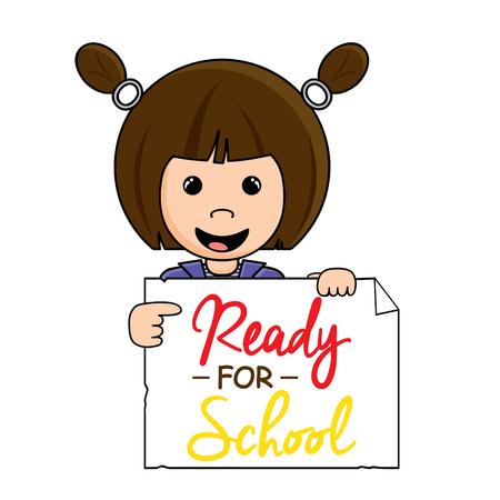 Cute little brunette girl holding a Ready for School sign