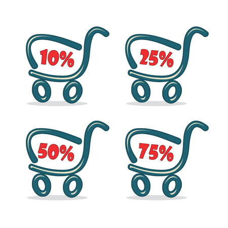 Shopping carts with discount percentage Illustration