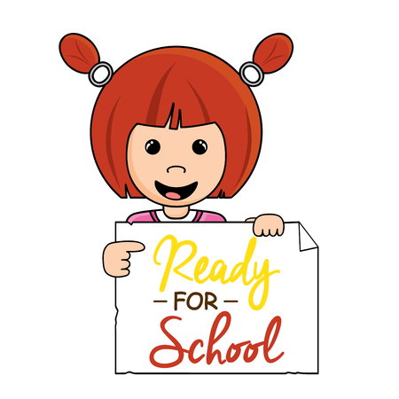 red hair girl: Cute little red hair girl holding a Ready for School sign