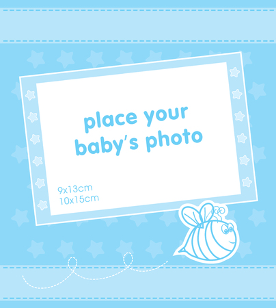 Template frame design for baby boy photo with a bee Illustration