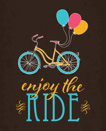 Retro bicycle with colorful balloons. Design poster.
