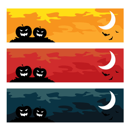 Halloween spooky banners, holiday concept