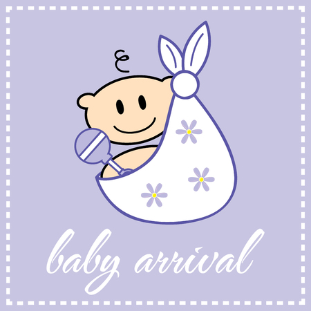 white cloth: Happy baby in a white cloth with flowers Illustration