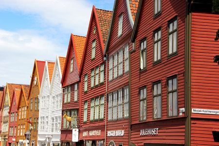 BERGEN, NORWAY - MAY 19, 2014: Colorful wooden houses in the city of Bergen. Bryggen is also known as the Tyskebryggen.