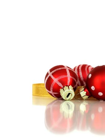 Christmas elegant red decoration balls with golden ribbon