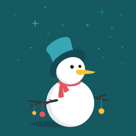 Merry little Snowman in the starry night, with colorful Christmas balls hanging from his hand branches
