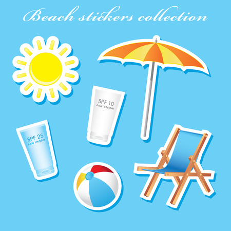 Colorful sunny beach stickers collection Illustration