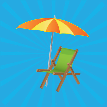 Beach umbrella with sunbed, summer sea time