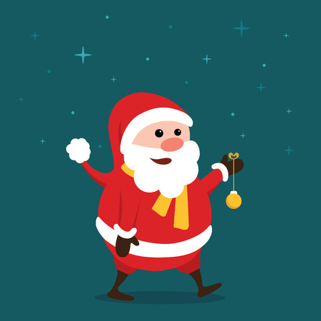 Merry little Santa Claus in the starry night, with colorful Christmas ball hanging from his hand Illustration