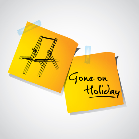 Drawing of beach sunbed on stick notes, holiday time concept