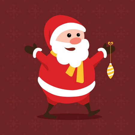 Merry little Santa Claus with colorful Christmas ball hanging from his hand