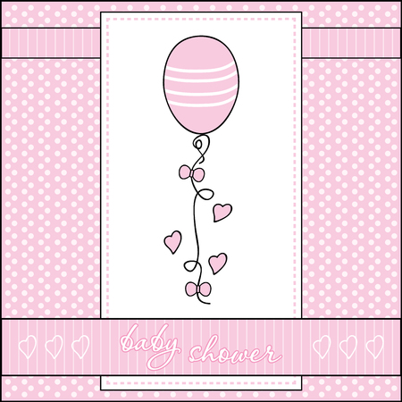 Baby shower greeting card with balloon and hearts Illustration