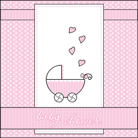 Baby shower greeting card with cute stroller and hearts