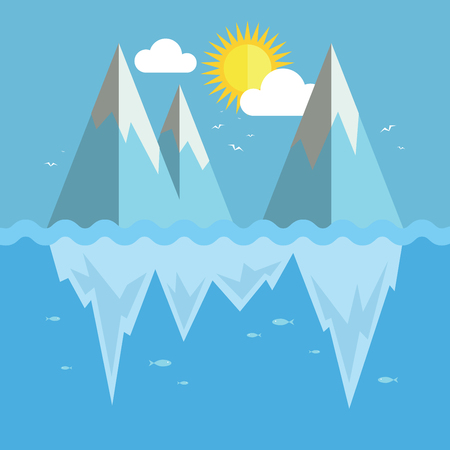 Iceberg flat graphic design. Infographic ice and snow theme. Ilustrace