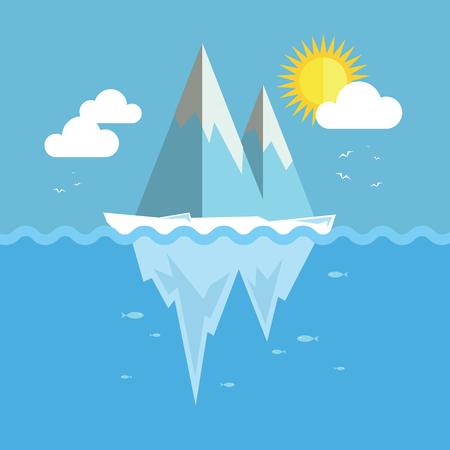 Iceberg flat graphic design. Infographic ice and snow theme. Illustration