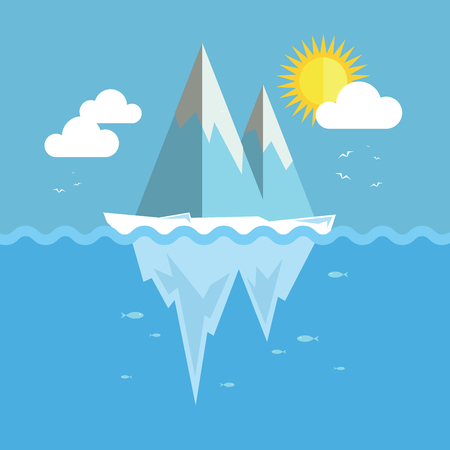 Iceberg flat graphic design. Infographic ice and snow theme. Illustration