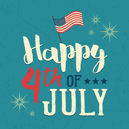 americana: 4th of July design poster. Independence day celebration. United Stated independence day greeting card