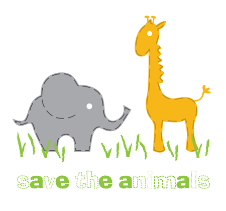 Elephant and giraffe, save the nature