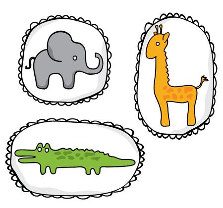 Wild animals stickers hand drawn, elephant, giraffe, crocodile Illustration