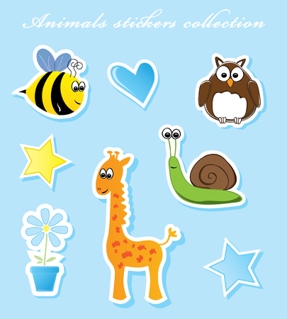 Animals stickers collection vector illustration