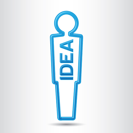 Modern human man figurine with shiny blue IDEA sign inside, smart businessman with an strategy idea concept