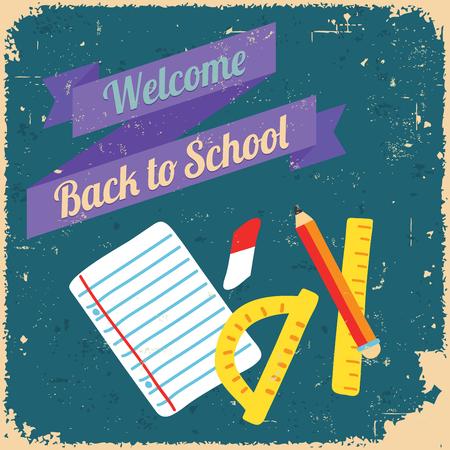 Back to school, design poster. Retro style.
