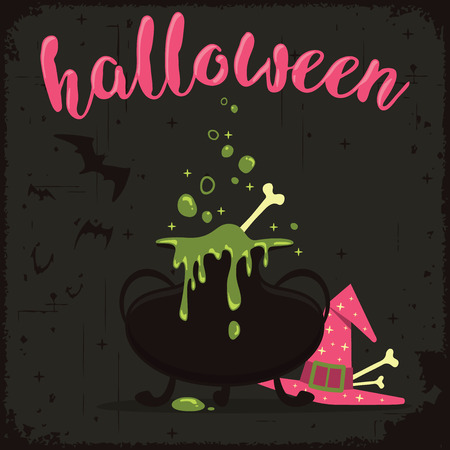Boiling magic potion with witch hat and flying bats. Halloween celebration theme
