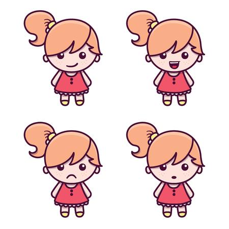 Cute cartoon girl character in Kawaii style