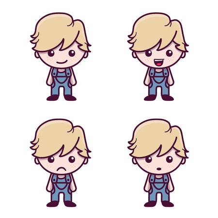 Cute cartoon boy character in Kawaii style