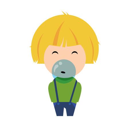 Boy blowing a gum, cartoon character