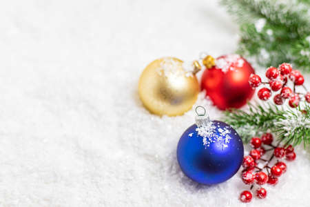 Merry Christmas and Happy New Year, Holidays greeting card background. Selective focus.
