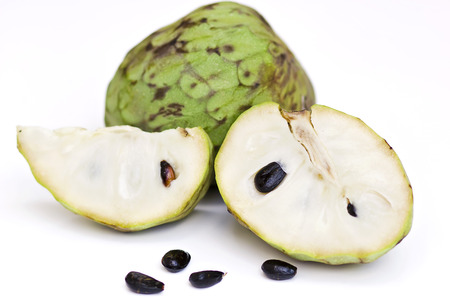 custard apple fruit: Custard apple and half of custard apple Stock Photo