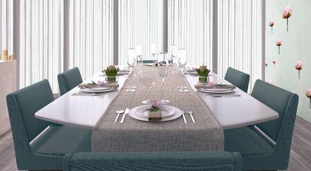 Bright dining room 3d render