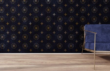 3d Rendering Of A Chair In Front Of The Gothic Inspired Wallpaper