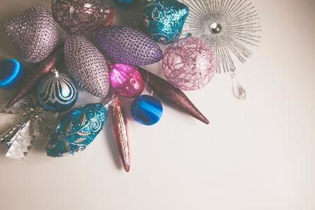 Elegant Christmas 2019 decor closeup, blue and pink colors