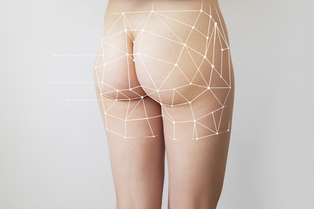 woman with graphic marks showing slimming concept