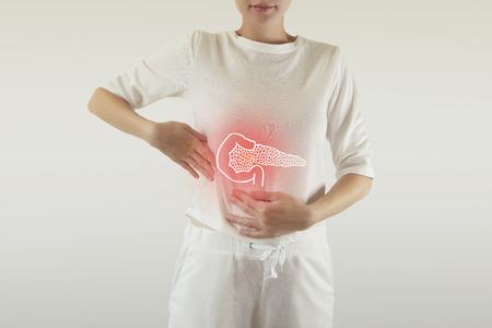 Digital composite of highlighted red pancreas of woman  pancreatitis  cholecystitis  cholelitthiasis