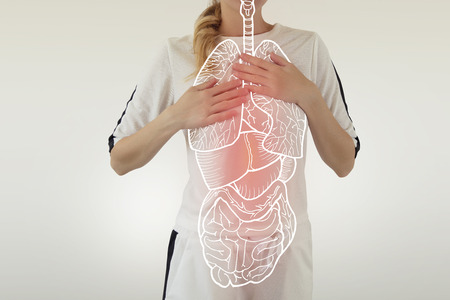 digital composite of highlighted red internal organs suffering from serious disease