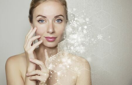 Portrait of young beautiful caucasian woman with Clean Fresh skin and new year snowflake background