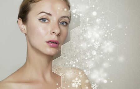 Healthy face skin Girl beauty christmas wellness and cosmetic ideas concept. Foto de archivo
