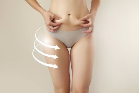 closeup of female figure with   body parts highlighted for liposuction / anticellulite therapy