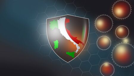 infographic banner showing Italy under coronavirus protection of all people with self-quarantine and hygienic actions during scientists working for covid-19 vaccine research