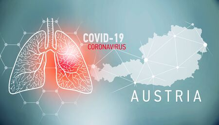 covid-19 infographic banner with silhouette of country and name. visualisation of disease in lungs, copy space for text