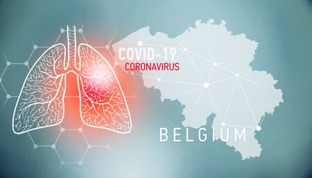 covid-19 infographic banner with silhouette of Belgium. visualization of disease in lungs, copy space for text